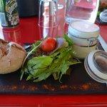 foie gras, réduction au porto et espuma de parmesan