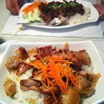 grill beef with rice and grill chicken in vermicelli