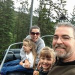 Family on the scenic chair lift, wear a jacket even in summer!