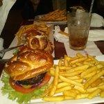 Pretzel burger and fries