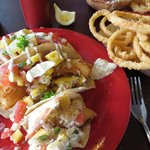 My delicious fish taco and onion rings.  I want some now!