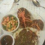 A half eaten Meatloaf on my Blackhawks Feast Plate