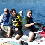 Jerry and Becky Theuns of Memphis take a ride with Gordie Robison of Long Lake, Nanaimo, B.C. (S