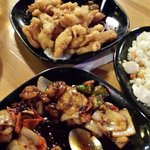 Almond chicken, kung pao shrimp,  chicken curry. All excellent!