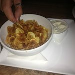 Tiny little fingerling potato chips and dip-- delicious!