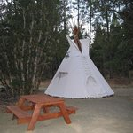Our TiPi's are beautiful... Paver Stone Floors, Futon Beds and Fully Decorated