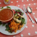 delicious tomato soup with a cheeky salad