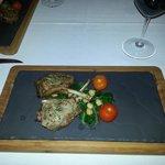 Roast lamb rack w/ chick pea, silverbeet & vine tomatoes