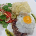 Beef Schnitzel with Fried Egg and Mushed Potatoes