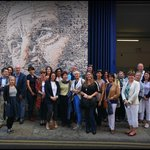 In front of a Vhils sand-blasted street art