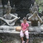 My daughter with the Statues