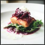 Slow poached salmon, beetroot, horseradish snow
