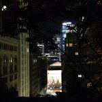 View of the NY public library from hotels rooftop at night