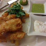 Fish and chips. Fish nice chips a bit soggy and pea pure not mushy
