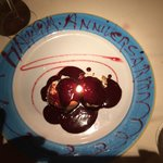 The happy anniversary desert. Great touch to the evening
