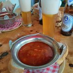 Goulash and weissbier.