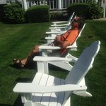Relaxing in the adirondack chairs.