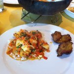 Moqueca with rice & fried plantains