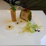 Delicious fois gras with an apple strudel and apple slaw