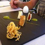 Quail egg, mini sandwiches, chicken and shoestring potatoes
