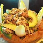Santa Fe Salad, grilled chicken, in a tortilla shell