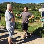 Philip talks with Phillipe, the passionate local vigneron