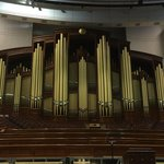 The impressive pipe organ and choir stand