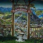 Charming kitchen garden and mural.