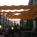 Lovely patio dining with firepits