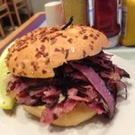 Hot Pastrami on Onion Roll