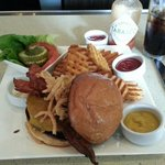 Bacon cheeseburger available at the lounge