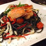 Squid ink linguine with seafood