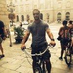The hubby getting acquainted w/ his bike