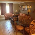 Living area of 2 bedroom suite