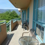 Shared balcony with our master bedroom window in the right hand side