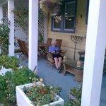 Enjoying the gardewn patio on a pleasant summer evening.