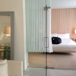 Lovely glass doors between the living area and bedroom