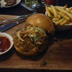 Pulled pork roll with fries - delicious