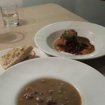 Beef Soup with Garlic bread and Pork Belly
