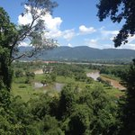 View from the balcony. On the left is Myanmar and the mountains across is Laos.