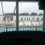 This is the view from the workout room. To the left is the bridge that crosses the causeway.