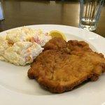 Pork schnitzel with potato salad. Yum!