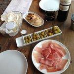 olives, jamon, prawn chips