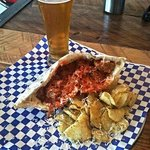 Stuffed Meatball Focaccia with Truffle Chips