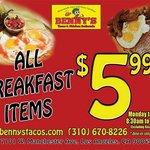 All Breakfast items $5.99, Mon-Friday