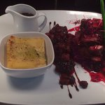 Special of the day!!! Venison,dauphinoise,red cabbage marmalade,chorizo and blackberry compote!