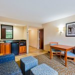 Our King Suite includes an in-room table, wet bar, and sleeper sofa.