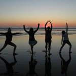 Sunset yoga at Rockaway Beach