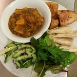 Sweet potato and butternut squash curry, with warm pitta, roast potatoes and salad only £4.50