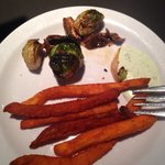 Amazinh fried sweet potato and brussels sprouts